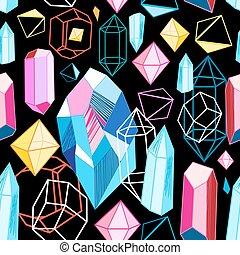 padrão, luminoso, cristais