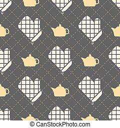 padrão, luvas, seamless, fundo, cozinha