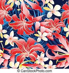padrão, luxuriante, seamless, amarela, tropicais, vermelho