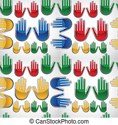 padrão, mãos, diversidade, cima, lustroso