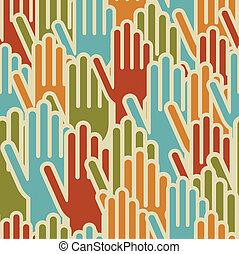 padrão, mãos, diversidade, seamless, cima