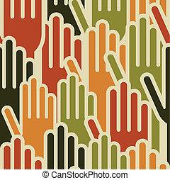 padrão, mãos, seamless, multi-étnico