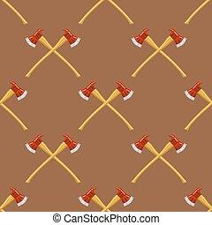 padrão, machados, bombeiro, crucifixos, seamless