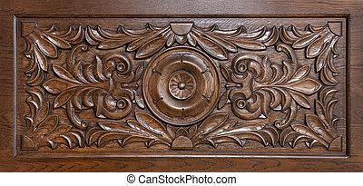 padrão, madeira, esculpido