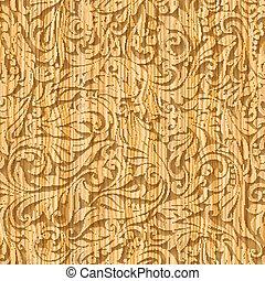 padrão, madeira, floral