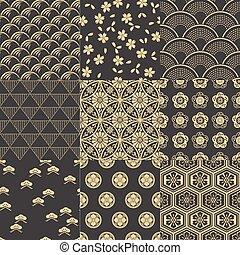 padrão, malha, seamless, japoneses