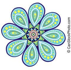 padrão, mandala, flor