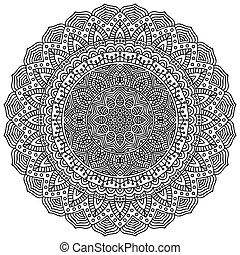 padrão, mandala., ornamento, redondo