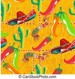 padrão, mexicano, ícones