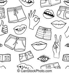 padrão, moda, emblemas, remendo