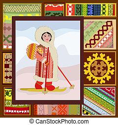 padrão, mulher, norte, étnico