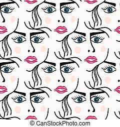 padrão, mulher, seamless, rosto