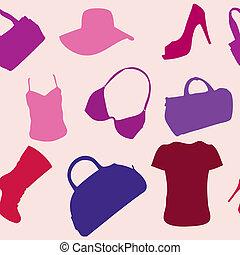 padrão, mulheres, seamless, acessórios