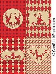 padrão, natal, deers