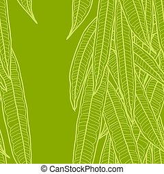 padrão, natural, seamless, longo, leaves.