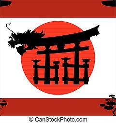 padrão, nippon, japoneses, fundo