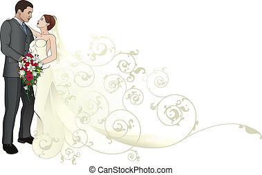 padrão, noivo, abraçar, fundo, noiva
