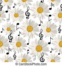 padrão, notas, música, seamless, margaridas