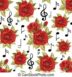 padrão, notas, seamless, rosas, música, vermelho
