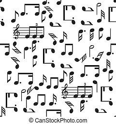 padrão, notas, vetorial, música, seamless