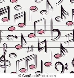 padrão, notas, vetorial, musical