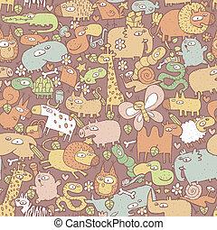 padrão, objetos, animais, seamless