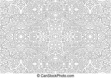 padrão, oriental, linha, coloração, livro arte