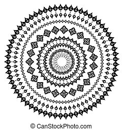 padrão, oriental, redondo, arabesco