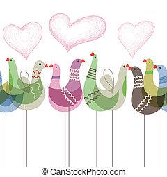 padrão, ornamento, pássaros, amor, seamless