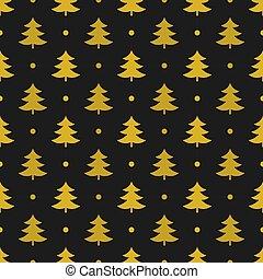 padrão, ouro, árvores natal
