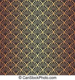 padrão, ouro, deco, seamless, arte