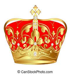 padrão, ouro, tsarist, pérola, coroa