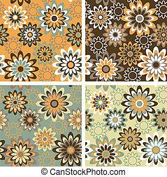 padrão, outono, floral
