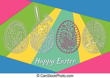 Padrão, ovos, Páscoa, branca