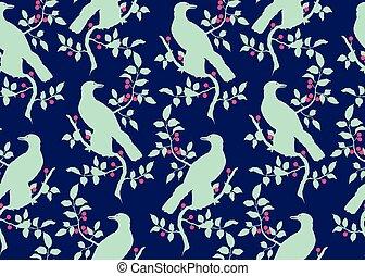 padrão, pássaro, ramo, seamless