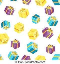 padrão, pacotes, seamless, gifts.