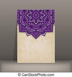 padrão, papel, antigas, circular, cartão, floral, roxo