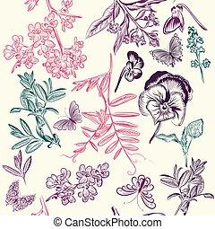 padrão, papel parede, seamless, butterflies.eps, floral, flores