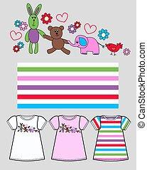 padrão, para, childrens, roupas