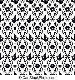 padrão, partido., folclore, flores, elementos, experiência., ornament., fiesta, folhas, branca, mexicano, seamless, projeto floral, pássaros, mexico., tradicional, arte, ornate, povo