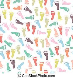 padrão, pegadas, seamless, coloridos