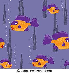 padrão, peixe, seamless, amarela