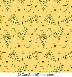 padrão, pizza, seamless, fatias