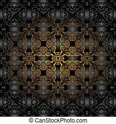 padrão, pretas, ouro, deslumbrante