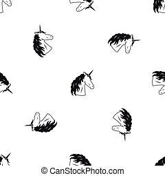 padrão, pretas, seamless, unicórnio