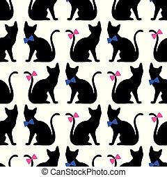 padrão, pretas, silueta, seamless, gato