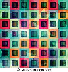 padrão, quadrados, colorido, seamless