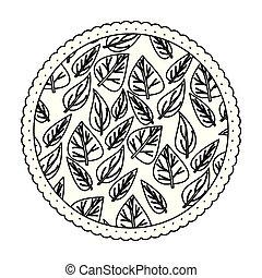 padrão, quadro, redondo, ovoid, monocromático, folhas