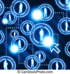 padrão, rede, social