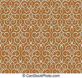 padrão, repetindo, papel parede, brown., seamless